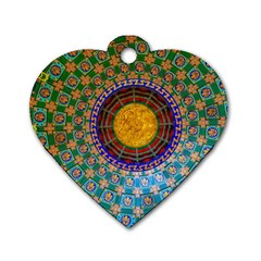 Temple Abstract Ceiling Chinese Dog Tag Heart (two Sides)