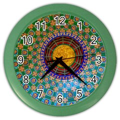 Temple Abstract Ceiling Chinese Color Wall Clocks