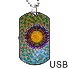 Temple Abstract Ceiling Chinese Dog Tag USB Flash (One Side)