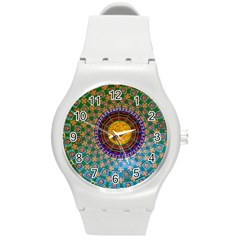 Temple Abstract Ceiling Chinese Round Plastic Sport Watch (m)