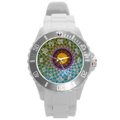 Temple Abstract Ceiling Chinese Round Plastic Sport Watch (L)