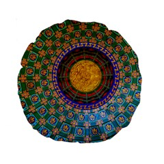 Temple Abstract Ceiling Chinese Standard 15  Premium Round Cushions