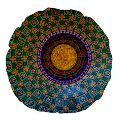 Temple Abstract Ceiling Chinese Large 18  Premium Round Cushions