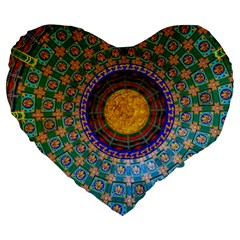 Temple Abstract Ceiling Chinese Large 19  Premium Heart Shape Cushions