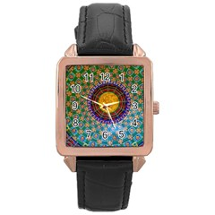 Temple Abstract Ceiling Chinese Rose Gold Leather Watch