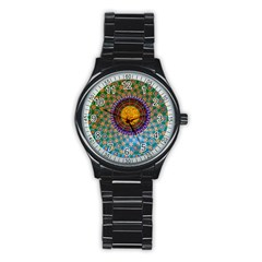 Temple Abstract Ceiling Chinese Stainless Steel Round Watch