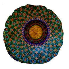 Temple Abstract Ceiling Chinese Large 18  Premium Flano Round Cushions