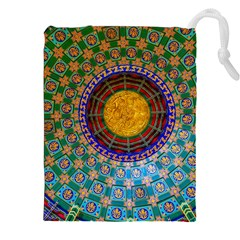 Temple Abstract Ceiling Chinese Drawstring Pouches (XXL)