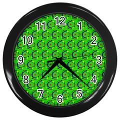 Abstract Art Circles Swirls Stars Wall Clocks (Black)