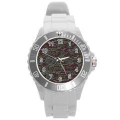 Full Frame Shot Of Abstract Pattern Round Plastic Sport Watch (l)