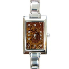 Copper Caramel Swirls Abstract Art Rectangle Italian Charm Watch