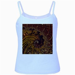 Copper Caramel Swirls Abstract Art Baby Blue Spaghetti Tank
