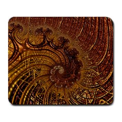 Copper Caramel Swirls Abstract Art Large Mousepads