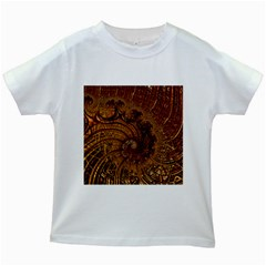 Copper Caramel Swirls Abstract Art Kids White T Shirts
