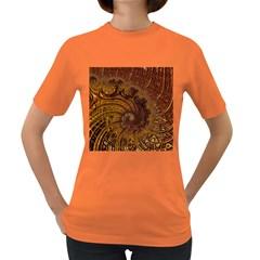 Copper Caramel Swirls Abstract Art Women s Dark T Shirt