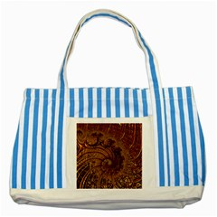 Copper Caramel Swirls Abstract Art Striped Blue Tote Bag