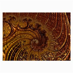 Copper Caramel Swirls Abstract Art Large Glasses Cloth (2 Side)