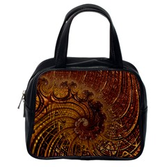 Copper Caramel Swirls Abstract Art Classic Handbags (one Side)