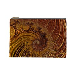 Copper Caramel Swirls Abstract Art Cosmetic Bag (Large)