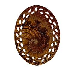 Copper Caramel Swirls Abstract Art Oval Filigree Ornament (Two Sides)