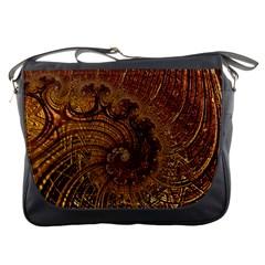Copper Caramel Swirls Abstract Art Messenger Bags