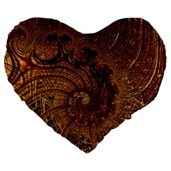 Copper Caramel Swirls Abstract Art Large 19  Premium Heart Shape Cushions