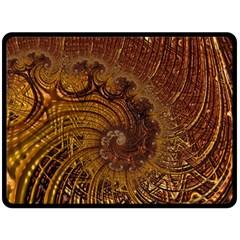 Copper Caramel Swirls Abstract Art Double Sided Fleece Blanket (large)