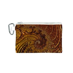Copper Caramel Swirls Abstract Art Canvas Cosmetic Bag (S)