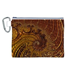Copper Caramel Swirls Abstract Art Canvas Cosmetic Bag (l)