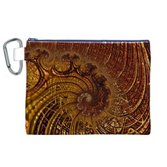 Copper Caramel Swirls Abstract Art Canvas Cosmetic Bag (XL)