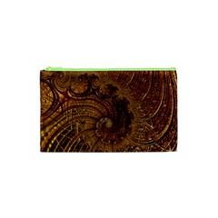 Copper Caramel Swirls Abstract Art Cosmetic Bag (xs)