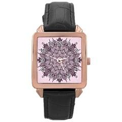 Sacred Art Shaman Shamanism Rose Gold Leather Watch