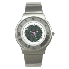 Pattern District Background Stainless Steel Watch