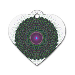 Pattern District Background Dog Tag Heart (two Sides)