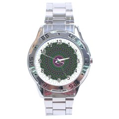 Pattern District Background Stainless Steel Analogue Watch