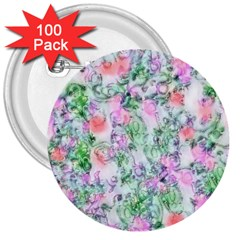 Softly Floral A 3  Buttons (100 pack)