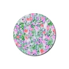 Softly Floral A Rubber Round Coaster (4 pack)