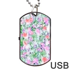 Softly Floral A Dog Tag USB Flash (One Side)
