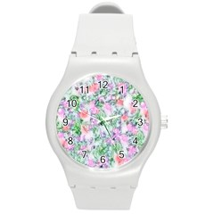 Softly Floral A Round Plastic Sport Watch (M)