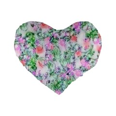Softly Floral A Standard 16  Premium Heart Shape Cushions