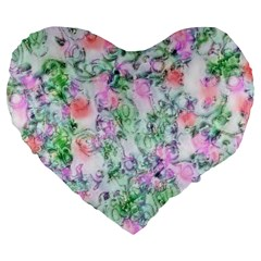 Softly Floral A Large 19  Premium Heart Shape Cushions