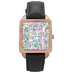 Softly Floral A Rose Gold Leather Watch