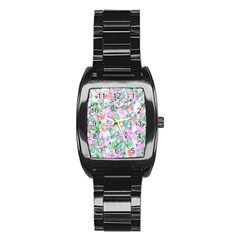 Softly Floral A Stainless Steel Barrel Watch