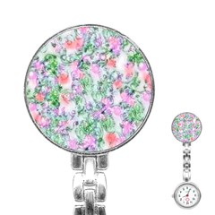 Softly Floral A Stainless Steel Nurses Watch