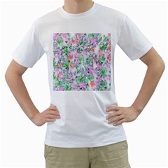 Softly Floral A Men s T-Shirt (White)