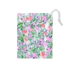 Softly Floral A Drawstring Pouches (Medium)