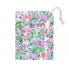 Softly Floral A Drawstring Pouches (Large)