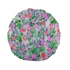 Softly Floral A Standard 15  Premium Flano Round Cushions