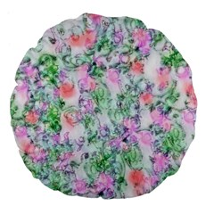 Softly Floral A Large 18  Premium Flano Round Cushions