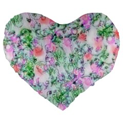 Softly Floral A Large 19  Premium Flano Heart Shape Cushions